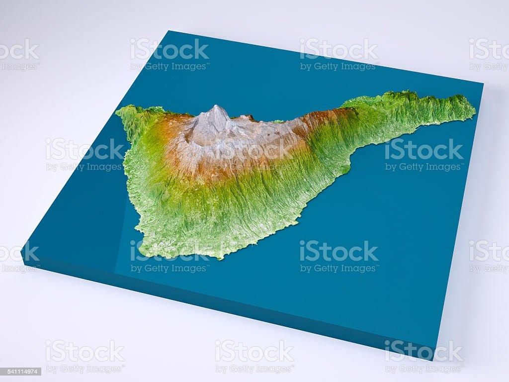 Teneriffa 3dmodell Topographische Karte Farbe Stockfoto Und Mehr