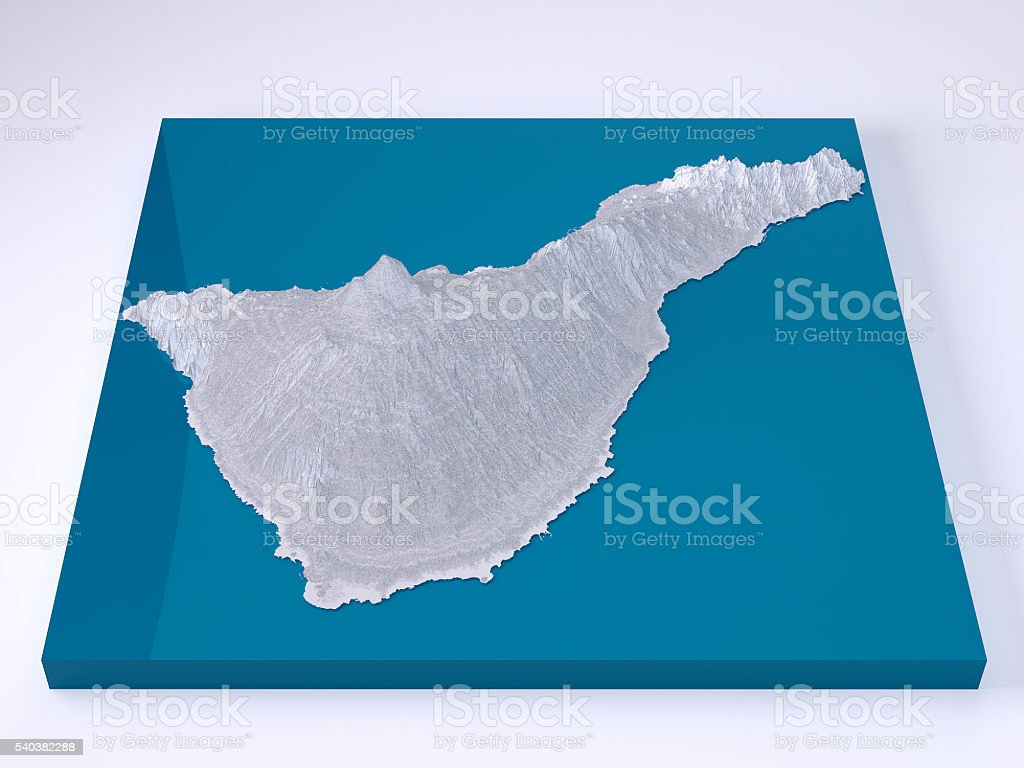 Map Of Spain Tenerife.Tenerife 3d Model Topographic Map White Frontal Stock Photo More