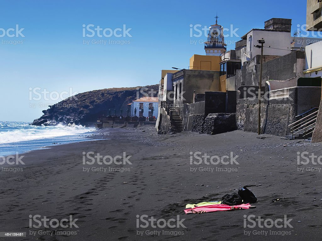 Tenerife black sand beach stock photo