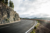 Tenerife Car Road in a beautiful Valley of Canary Island. Spain.