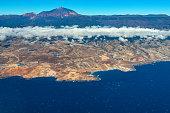 Tenerife island and Mount Teide volcano, aerial view,Spain,Nikon D850