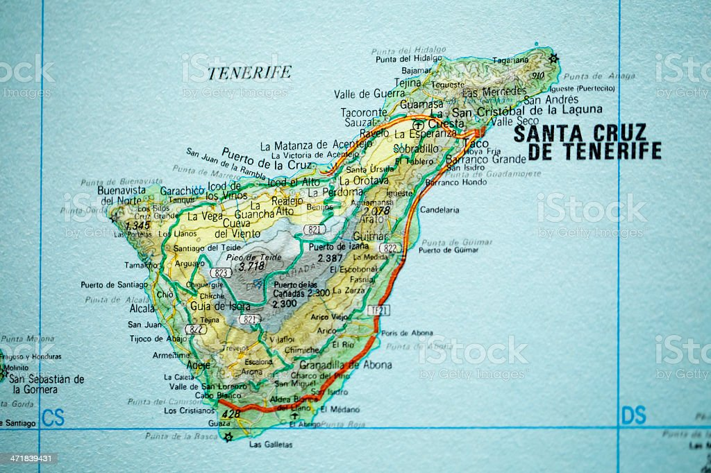 Map Of Spain Tenerife.Tenerife Vintage Map Stock Photo More Pictures Of Atlantic Islands