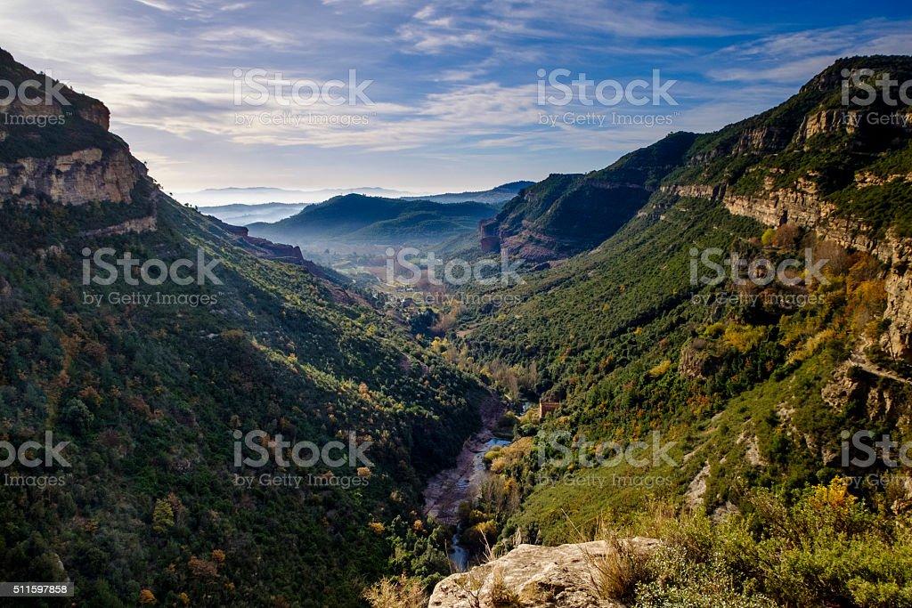 Tenes river passing through Sant Miquel del Fai stock photo