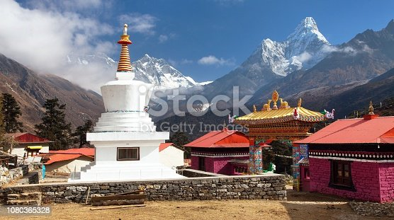 Tengboche Monastery with stupa and mount Everest, Lhotse and Ama Dablam,  the best monastery in Khumbu valley, trek to Everest base camp, Sagarmatha national park, Khumbu valley, Nepal Himalayas