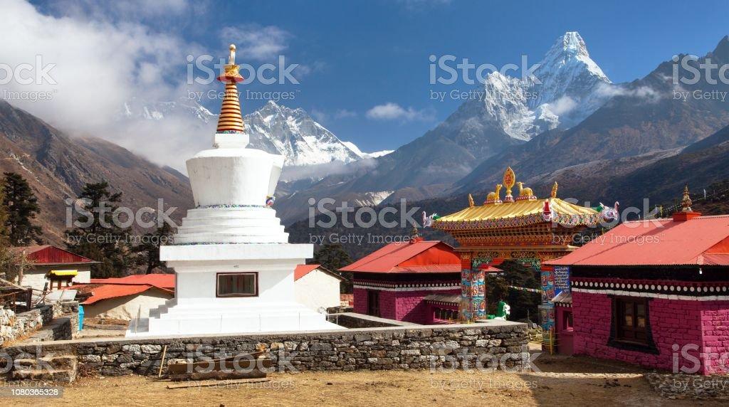 Tengboche Monastery with stupa and mount Everest stock photo