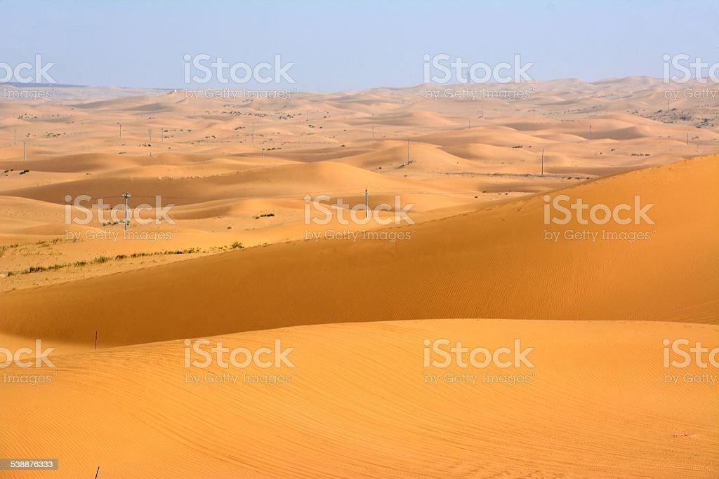 Tengger desert landscape in Inner Mongolia, China stock photo