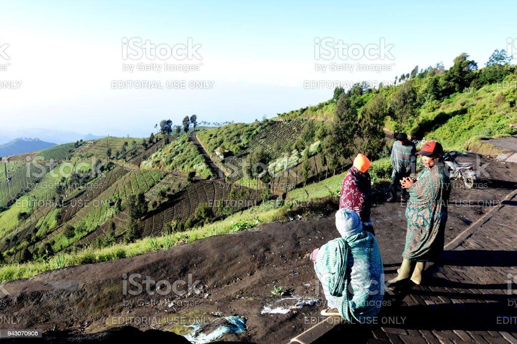 Tengger tribe in Argosari village, Semeru mountain stock photo