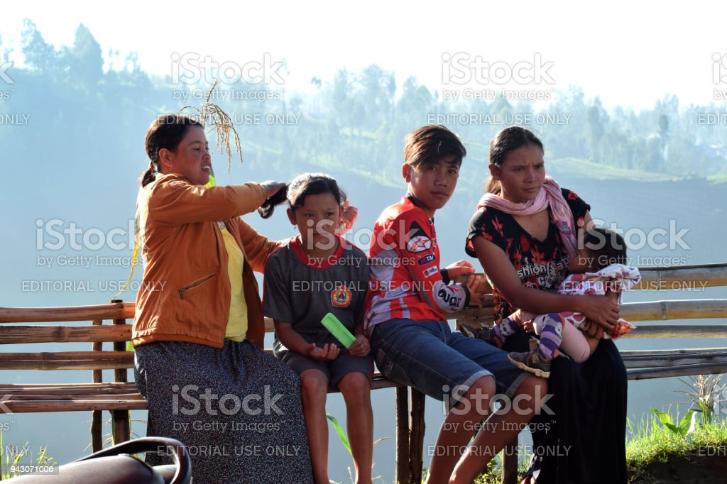 Tengger tribe in Semeru mountain stock photo