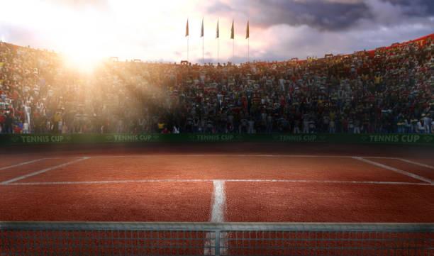 render 3d de corte grande arena de tierra de tenis - tenis fotografías e imágenes de stock