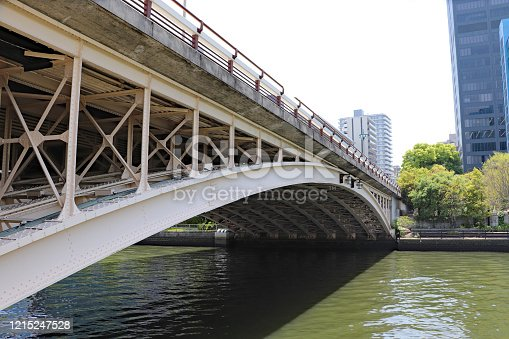 Tenjinbashi, big arch bridge in Nakanoshima, Osaka