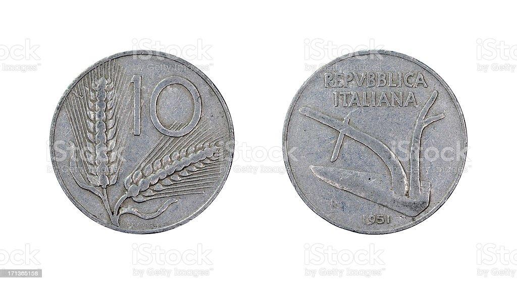 Ten-Lire-Coin, Italy, 1951 stock photo