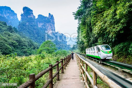 Zhangjiajie, China - September 17, 2015: Ten-mile Gallery of Zhangjiajie. Located in Wulingyuan Scenic Area which was designated a UNESCO World Heritage Site as well as an AAAAA scenic area by the China National Tourism Administration.