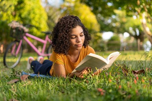 Girl, Book, Bicycle, Lying, Outdoors