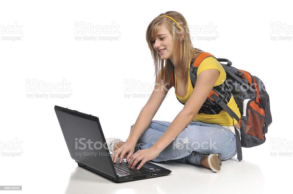 Tenn student with laptop royalty-free stock photo
