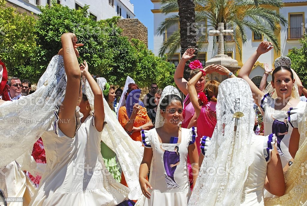 Tennage flamenco dancers, Marbella. royalty-free stock photo