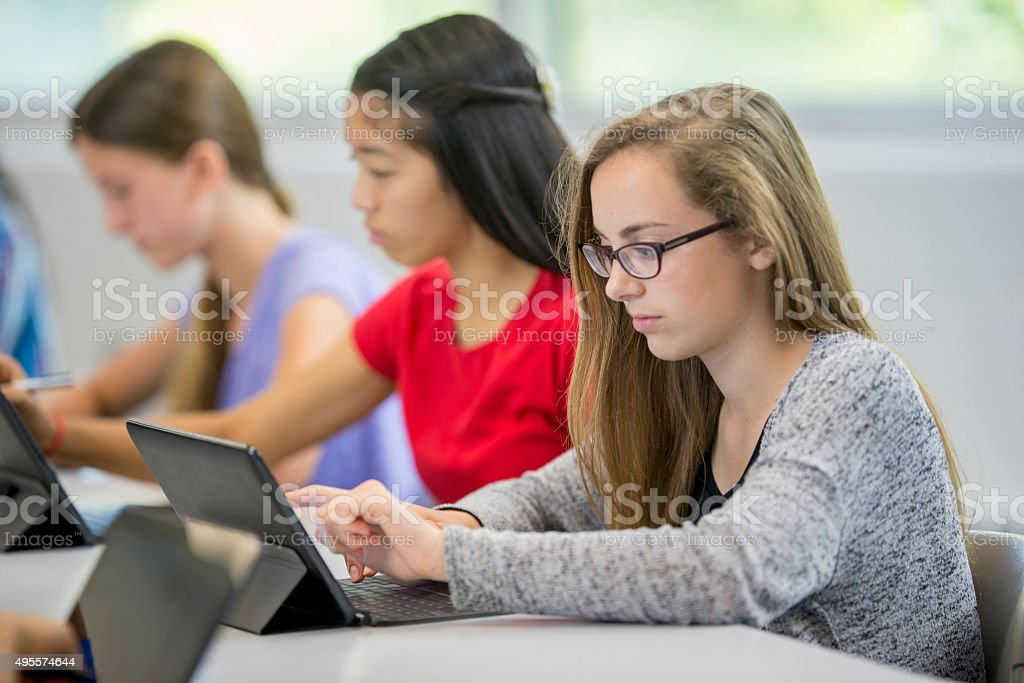 Tennage Girl Checking Social Media royalty-free stock photo