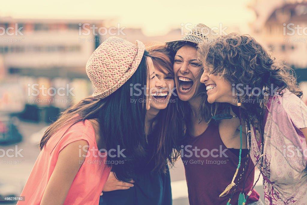 Tennage girls fun stock photo