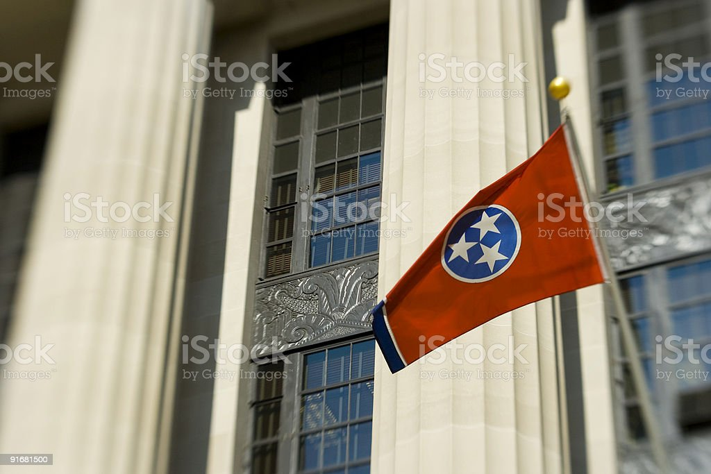 Tennessee Flag on Courthouse stock photo