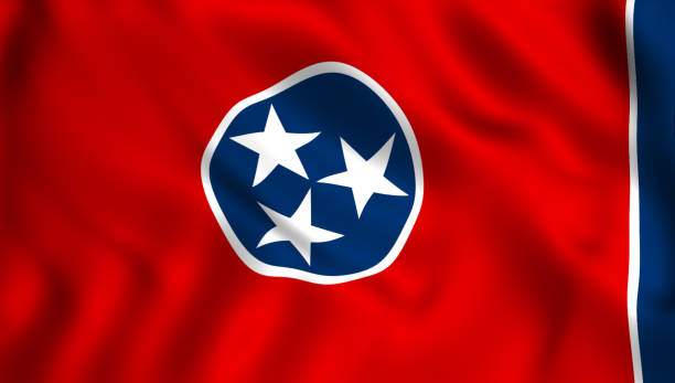 tennessee flag us state symbol - tennessee map stock photos and pictures