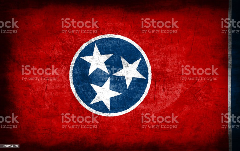 Tennessee flag with grunge metal texture stock photo