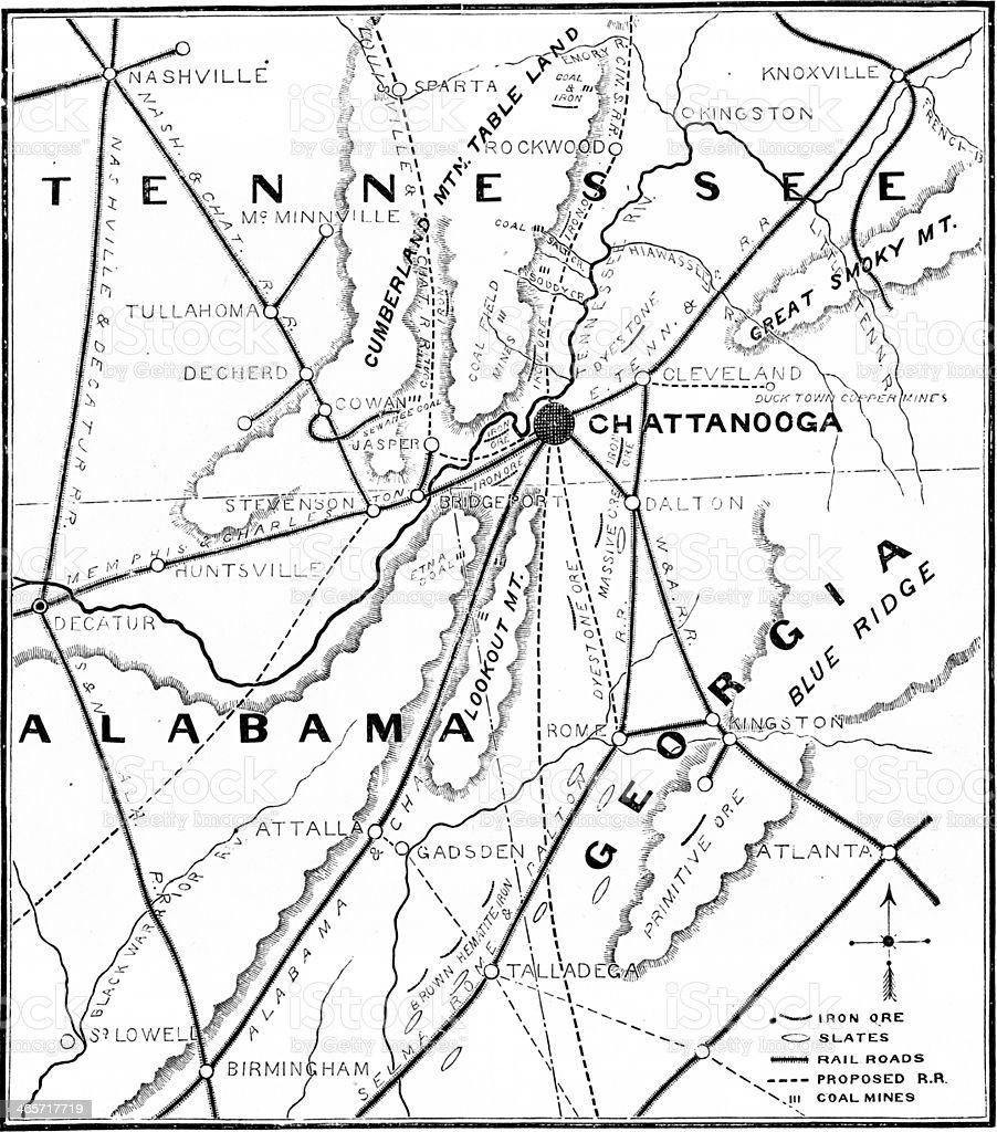 Tennessee, Georgia, and Alabama stock photo