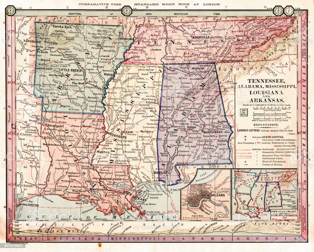 Tennessee Louisiana Alabama Map 1886 Stock Photo More Pictures of