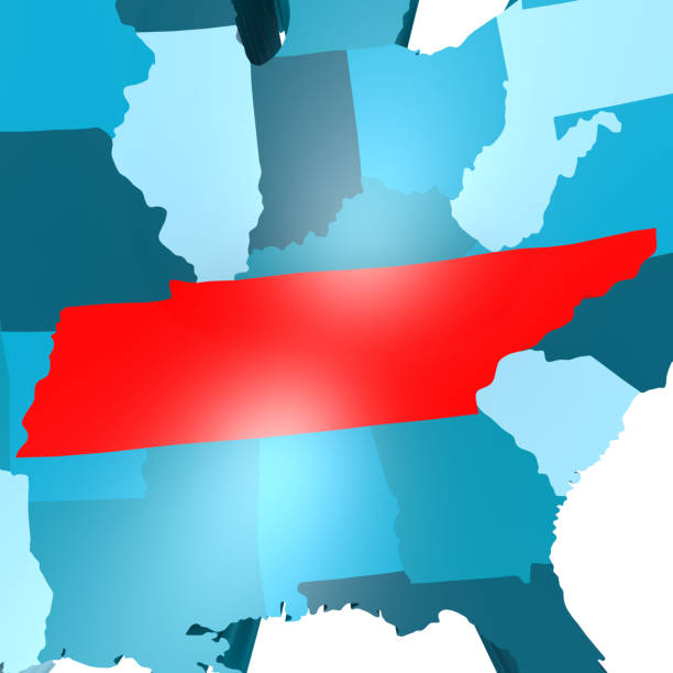 tennessee map on blue usa map - tennessee map stock photos and pictures