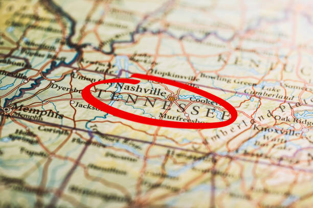 tennessee marked on map - tennessee map stock photos and pictures
