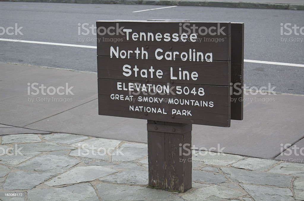 Tennessee & North Carolina State Line royalty-free stock photo