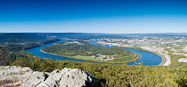 Tennessee River Panorama From Chattanooga View Of The Tennessee River From Lookout Mountain Near Chattanooga, Tennessee. tennessee river stock pictures, royalty-free photos & images