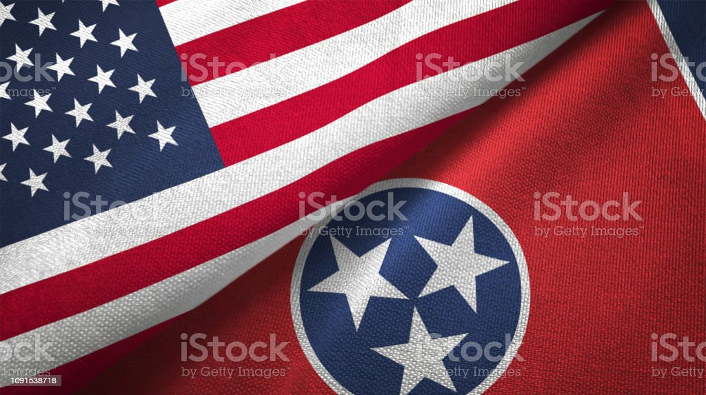 Estado do Tennessee e Estados Unidos duas bandeiras realations juntos têxtil pano tecido textura - foto de acervo