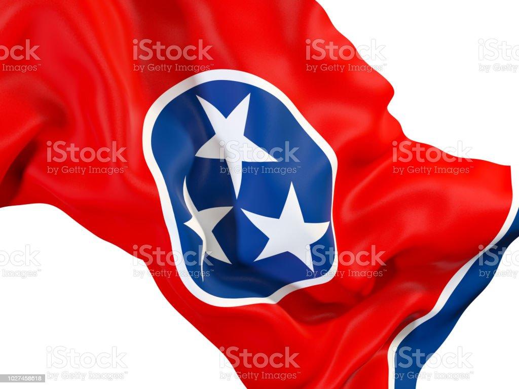 Bandeira do estado de Tennessee close-up. Bandeiras de locais dos Estados Unidos - foto de acervo
