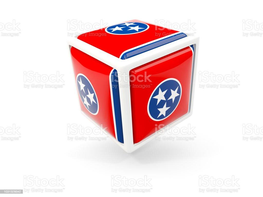 Bandeira do estado de Tennessee em ícone de cubo. Bandeiras de locais dos Estados Unidos - foto de acervo