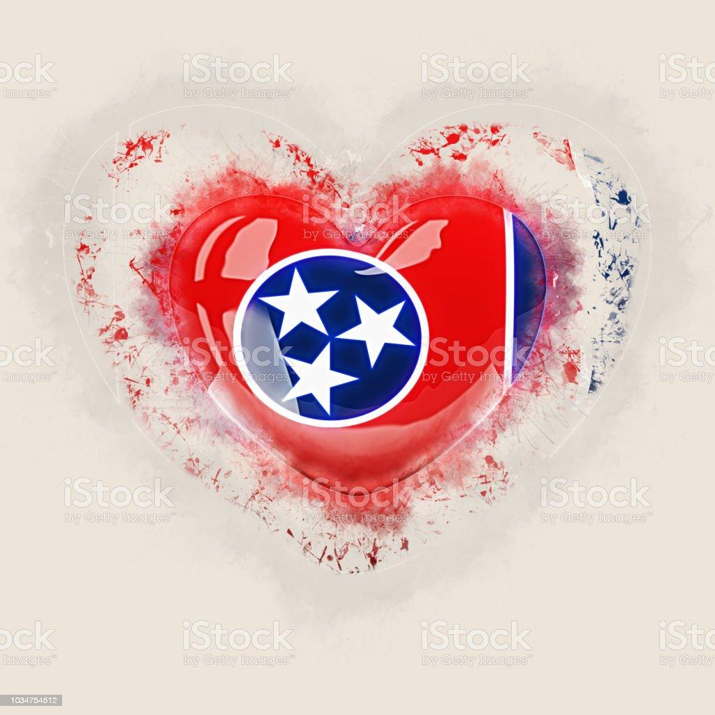 Bandeira do estado de Tennessee em um coração de grunge. Bandeiras de locais dos Estados Unidos - foto de acervo