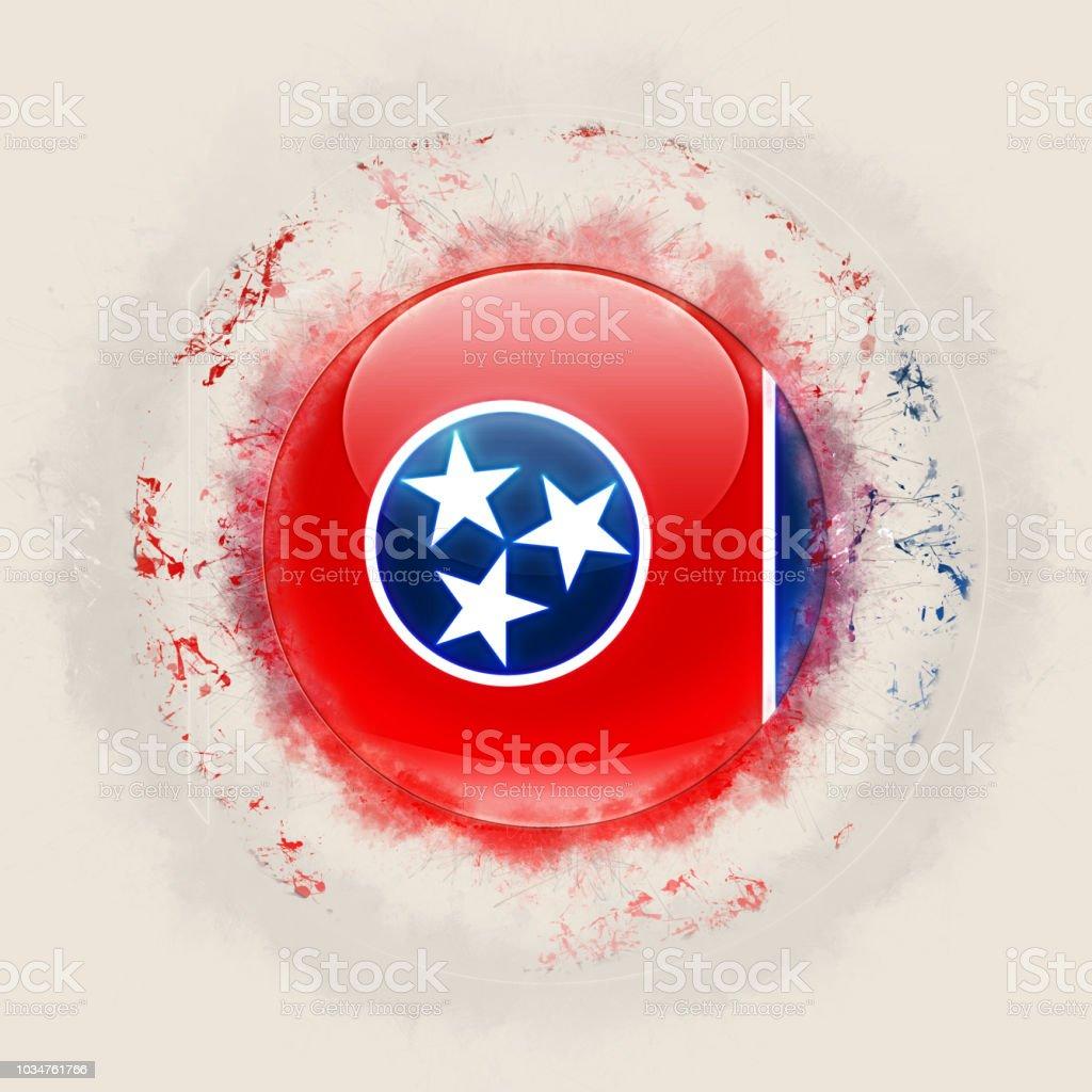 Bandeira do estado de Tennessee em um ícone do grunge redondo. Bandeiras de locais dos Estados Unidos. Ilustração 3D - foto de acervo