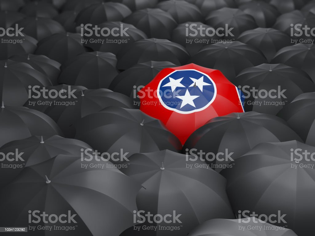 Bandeira do estado de Tennessee no guarda-chuva. Bandeiras de locais dos Estados Unidos - foto de acervo