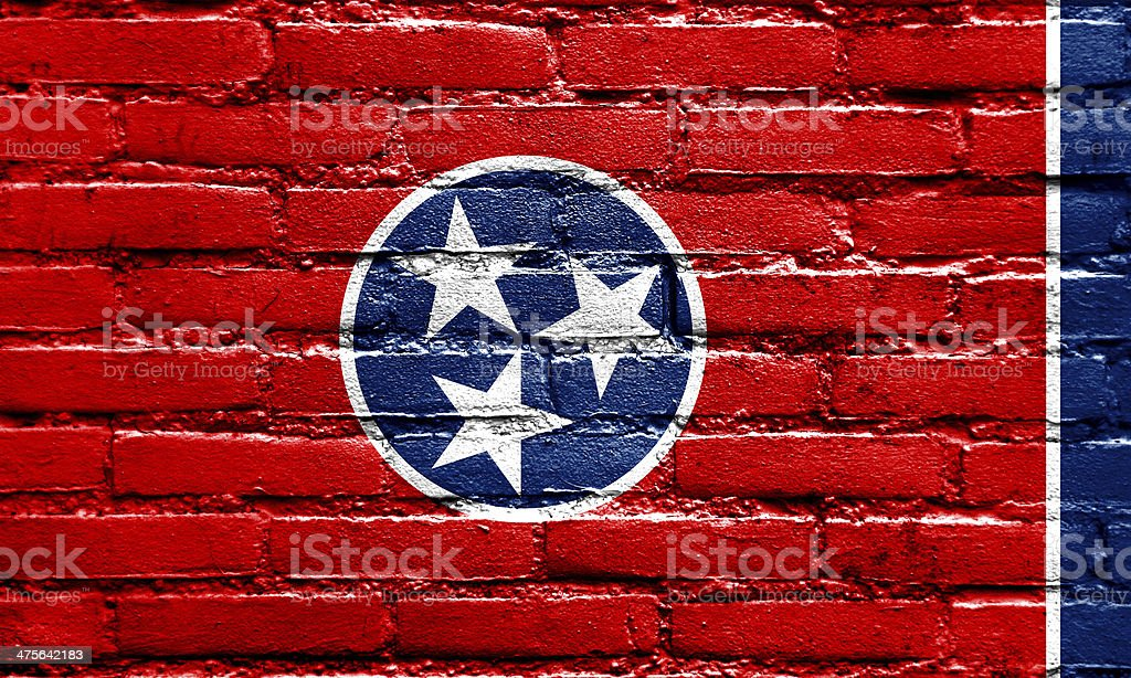 Tennessee State Flag painted on brick wall stock photo