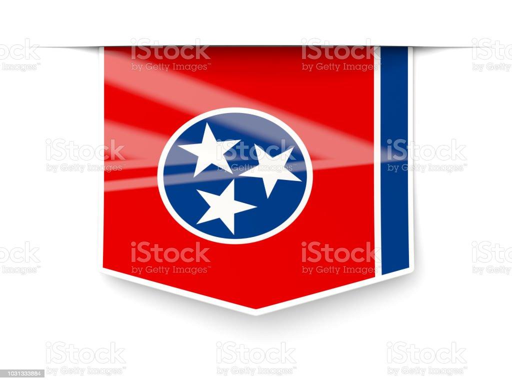 Bandeira do estado de Tennessee quadrados rótulo com sombra. Bandeiras de locais dos Estados Unidos - foto de acervo