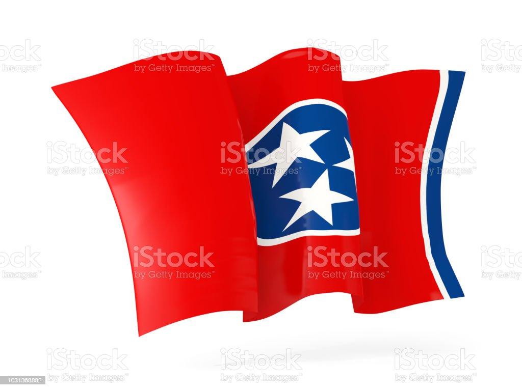 close-up ícone agitando bandeira do estado de Tennessee. Bandeiras de locais dos Estados Unidos - foto de acervo