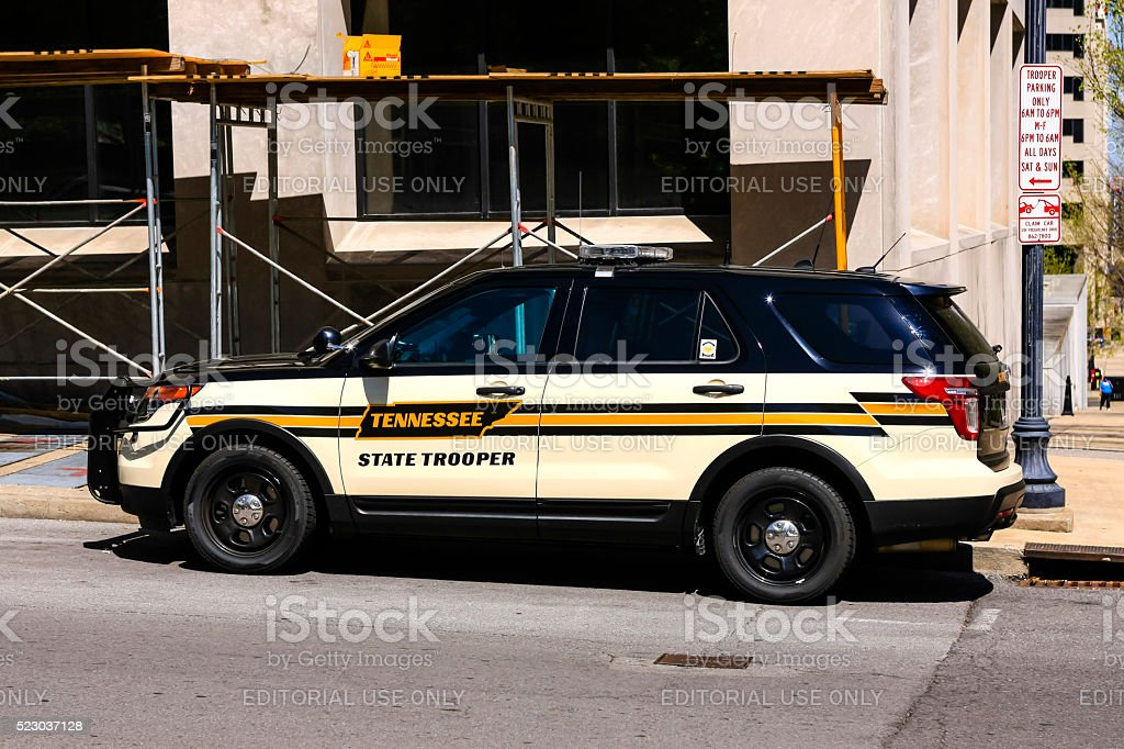 Tennessee State Trooper vehicle parked on the street in Nashville stock photo