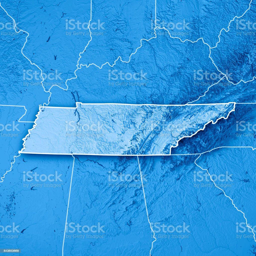 Tennessee State USA 3D Render Topographic Map Blue Border stock photo