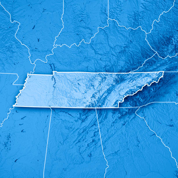 tennessee state usa 3d render topographic map blue border - tennessee map stock photos and pictures