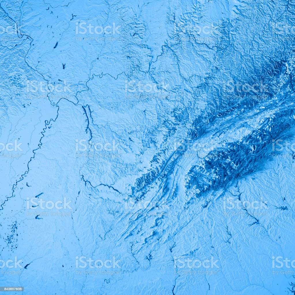 Tennessee State USA 3D Render Topographic Map Blue stock photo
