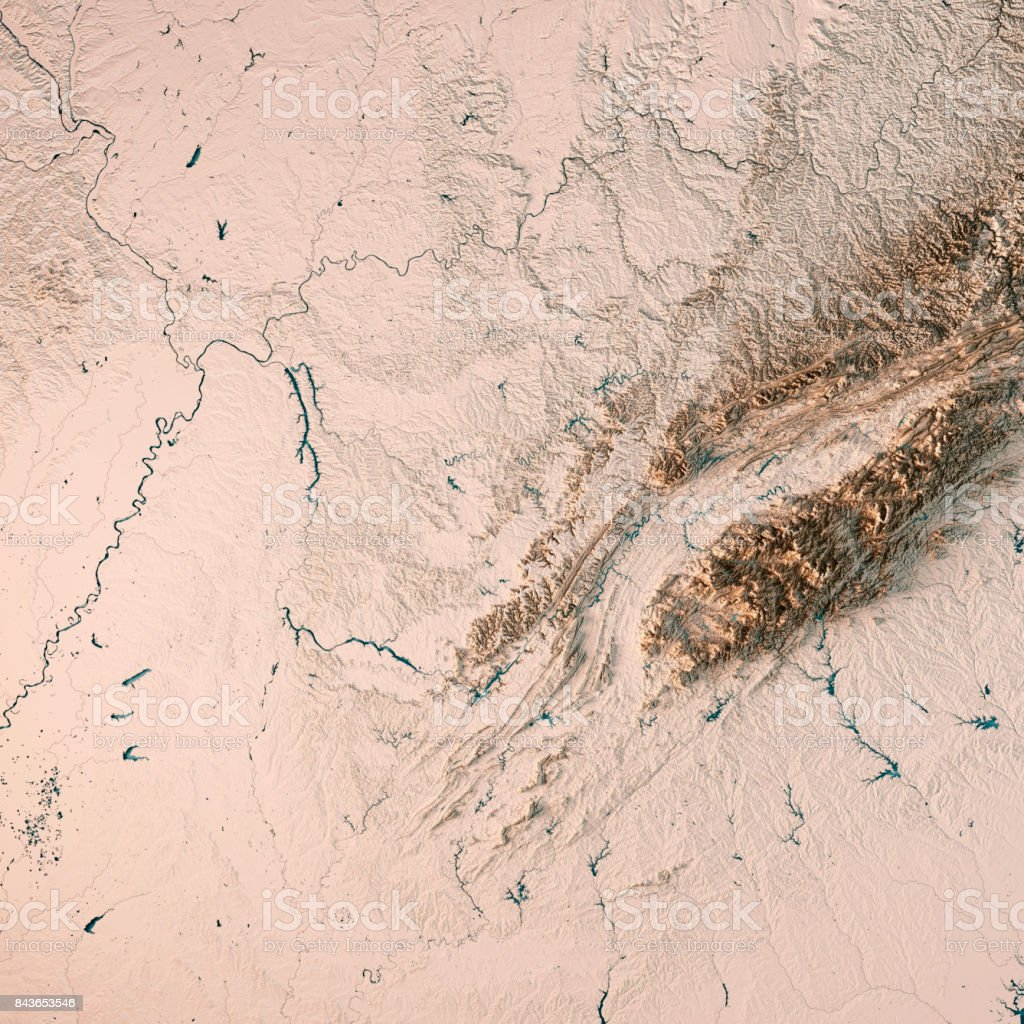 Tennessee State USA 3D Render Topographic Map Neutral stock photo