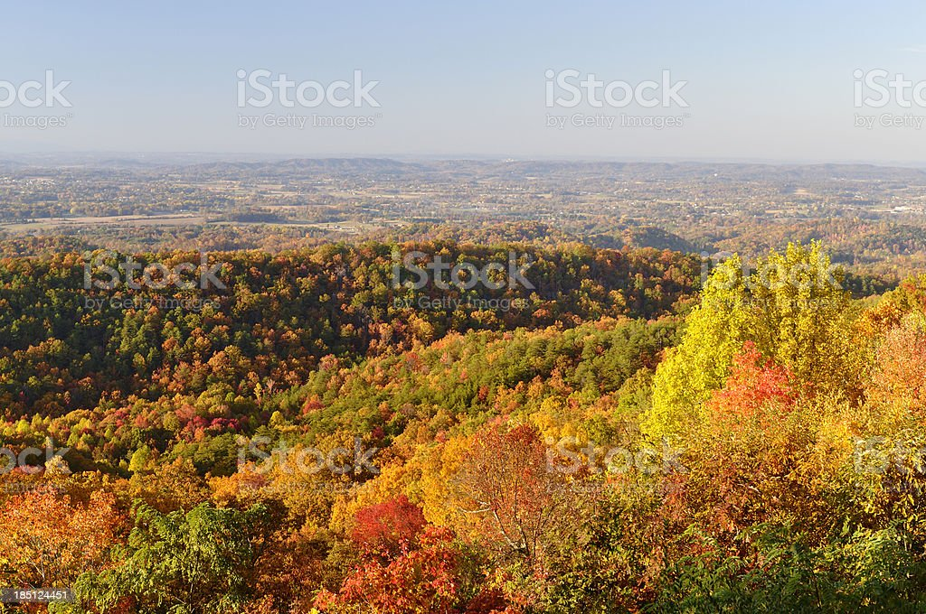 Tennessee Valley from Foothills Parkway West in Autumn stock photo