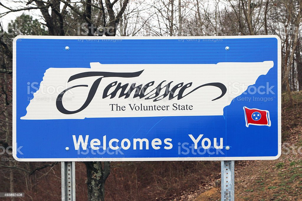 Tennessee Welcome Center sign stock photo