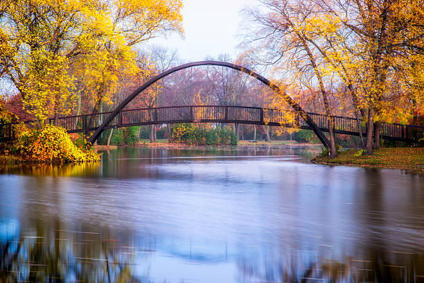 Tenney Park Bridge Tenney Park bridge on a fall morning madison wisconsin stock pictures, royalty-free photos & images