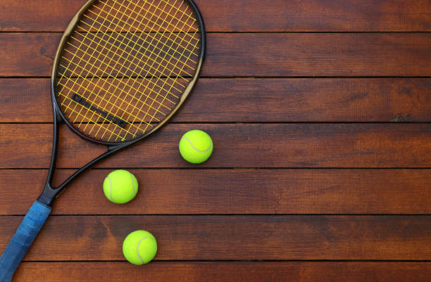 Tennis Background with Wooden Table