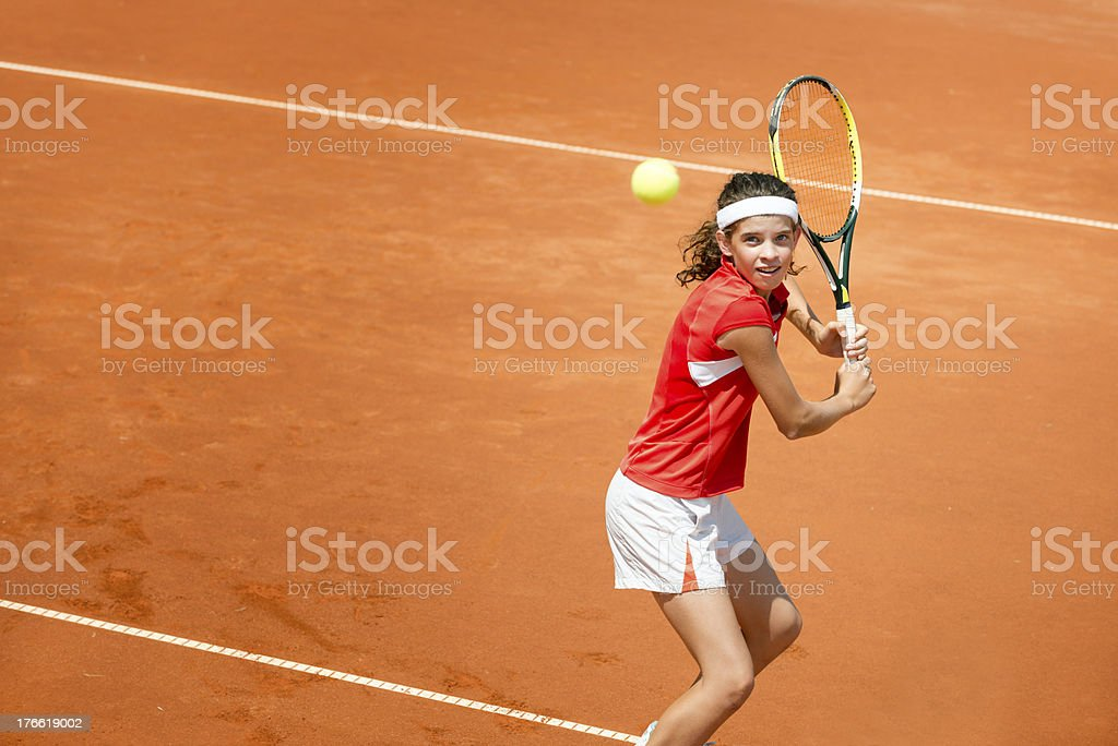 Tennis backhand stroke royalty-free stock photo