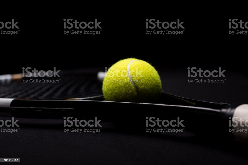 Tennis ball and racquet royaltyfri bildbanksbilder